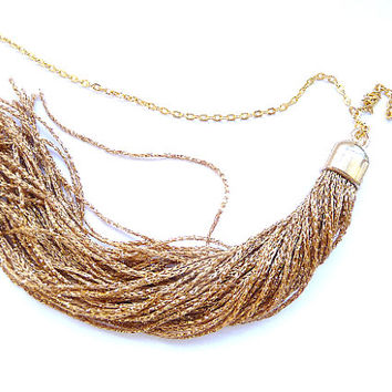 Tassel Necklace, Fringe Necklace,  gold tassel necklace, deep gold tassel, Long fringe necklace, long tassel necklace, gold necklace,