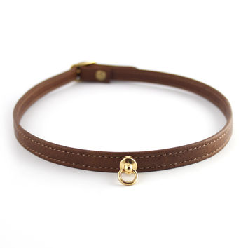 Cognac Brown and Gold Leather Choker