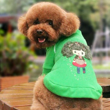 Rhine Stone Doll Zipper Sweater Fashion for Dog Clothing from Online Pet Store SIZE 18-Color Green