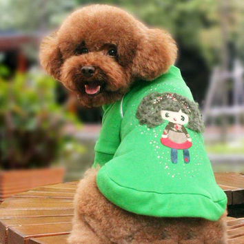 Rhine Stone Doll Zipper Sweater Fashion for Dog Clothing from Online Pet Store SIZE 10-Color Green