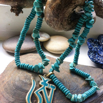lovely bohemian necklace, gemstone chip necklace, turquoise howlite necklace, Tibetan ohm pendant