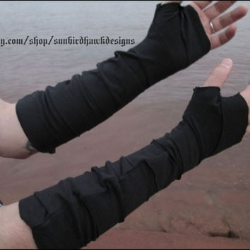Black strapped wrist bracers, fingerless gloves, arm warmers, arm wraps, free US shipping!