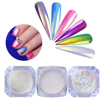 3pcs/set Neon Chameleon Powder Nail Mermaid Mirror Chrome Pigment Dust Iridescent Flakies Nail Art Manicure Powder