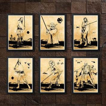 Star Wars Poster Set / Obi Wan, Skywalker, Secura, M. Windu, Yoda, Q. Jinn / Print High Quality 225gr Coated Paper (Special Design)