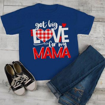 Kids Valentine's Day T Shirt Got Love For Mama Shirt Plaid Heart Tee Valentines Day Shirts