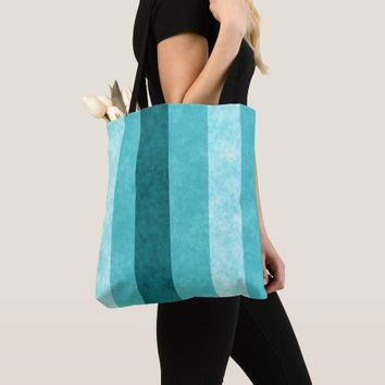 Blue Stripes Grunge Design All-Over-Print Tote Bag