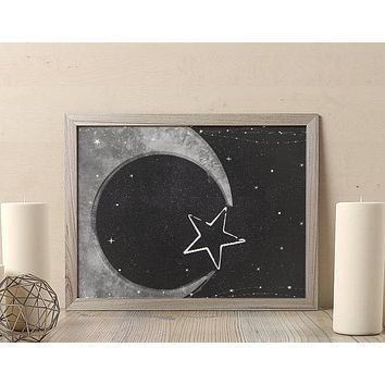Moon Poster Black and White Mandala Poster Bohemian Art Print Poster  Design no frame 20x30 Large