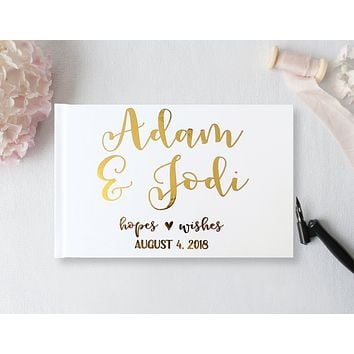 Wedding Guest Book, Hardcover, Calligraphy First Names,Rose Gold Foil,  Silver Foil, or Gold Foil, Choice of Colors and Sizes