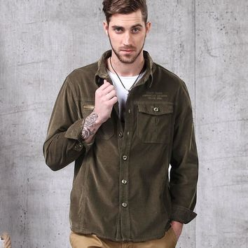 Cotton Corduroy Men's Long Sleeve Lapel Military Shirt Male Outdoor Riding Climbing Hiking Sports Breathable Tactical Shirts