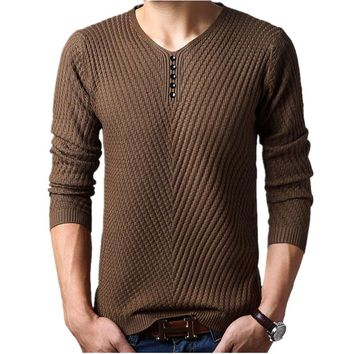 Mens Cashmere Henley Neck Sweater