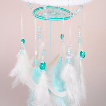 Mint Baby Mobile handmade exclusive Dreamcatcher bedroom Baby Mobiles bedding DreamCatcher Kids Dreamcatchers Christmas present mint balance