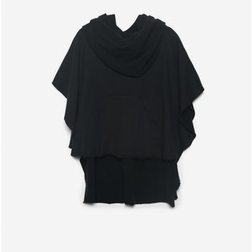 funnel neck poncho black