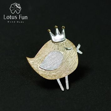 Lotus Fun Real 925 Sterling Silver Natural Handmade Fine Jewelry Lovely Princess Bird Design Brooches Pin Broche For Women