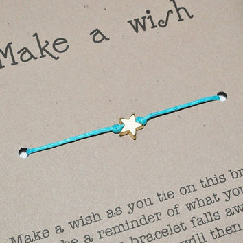 Wish Bracelet - Friendship Love Good Luck Bracelet - Waxed Cotton Cord and Matte Gold Star Charm - Make a Wish Bracelet