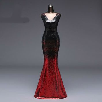 Evening Dress longo Formal Backless Luxury Black and Red Long Sequin robe longue gown bride