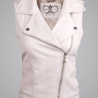 THOOO Women's White Asymmetric Sleeveless Leather Biker Moto Waistcoat Vest jacket