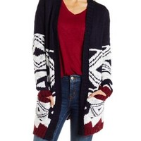 Open Front Patterned Cardigan with Pockets