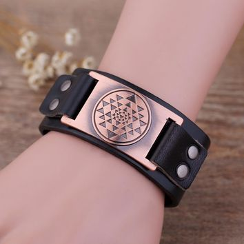 Leather Bracelets & Bangles Buddhist Sacred Geometry Sri Yantra Mandala Meditation