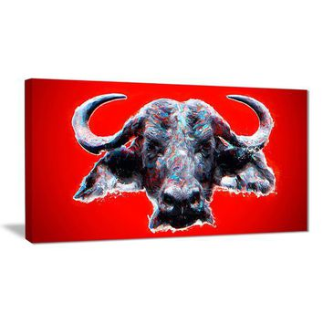Red Furious Bull Canvas Wall Art Print