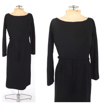 Vintage 1950s 60s Anne Fogarty Dress Party Cocktail Dress 50s Wool Winter Dress Mod Vogue Wiggle Day Dress Little Black Dress Size Medium