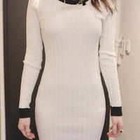White Knitted Long Sleeve Sheath Dress