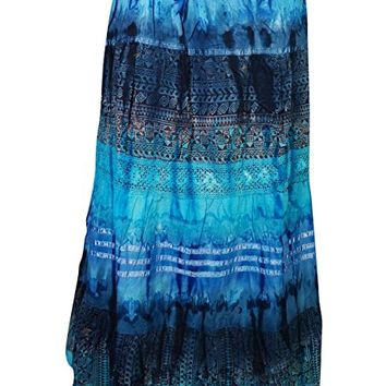 Womens Long Skirt Colorful Tie Dye Vintage A-line Flare Boho Hippie Medieval Skirts (Blue)