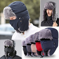 New Men Women Winter Ushanka Trapper Aviator Earflap Ski Hats With Mask Cap Hood [9221460996]