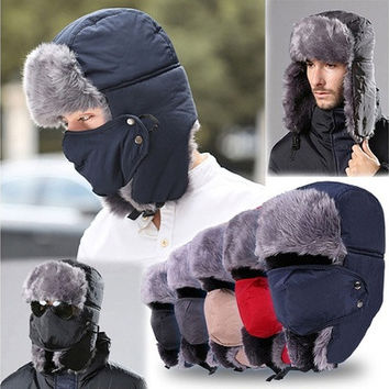 New Men Women Winter Ushanka Trapper Aviator Earflap Ski Hats With Mask Cap Hood [9305632007]