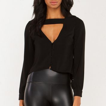 Button Up Blouse in Black