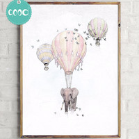 Elephant with Fire Balloon Sketch Canvas Art Print Painting Poster,  Wall Pictures for Home Decoration, Home Decor Ye15-1