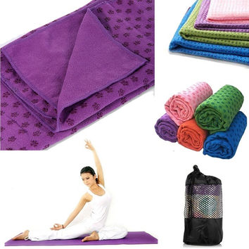 "Microfiber Non-Slip Dots Yoga Mat Towel 24"" x 72"" With Carry Bag = 1932880900"