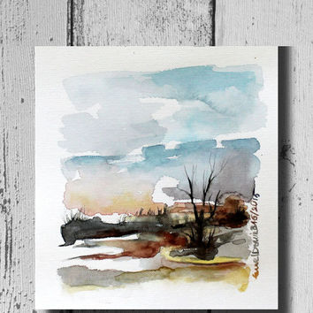 Neutral wall art Watercolor Landscape painting watercolor painting Landscape watercolor wall decor