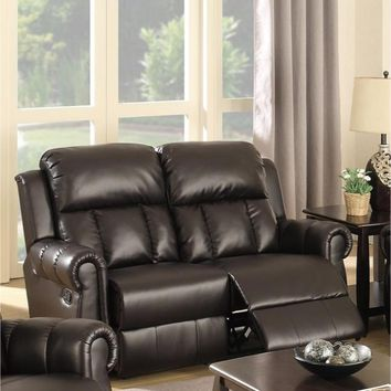 Bonded Leather  Reclining Loveseat Brown