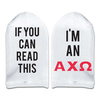 If You Can Read This... I'm an Alpha Chi Omega Sorority Women's No Show Socks Printed with Text on Sole