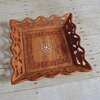Vintage 1960s Handmade + Carved Wood Inlay Tray