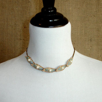 Vintage Faux Pearl and Turquoise Necklace, Delicate Dainty Gold Tone Choker, White Glass Pearls, Estate Bridal Wedding Costume Jewelry