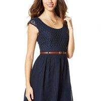 dELiA*s Juniors Cap Sleeve Lace Twofer Dress 7 Navy Multi