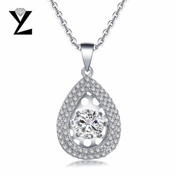 YL Water Drop Silver Natural Topaz Stone Necklaces with Dancing Natural Stone for Women Fine Jewelry Accessories