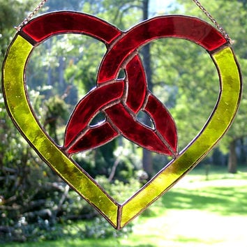 Trinity Knot Heart in Ruby Red and Yellow Stained Glass, Suncatcher, handmade in Australia