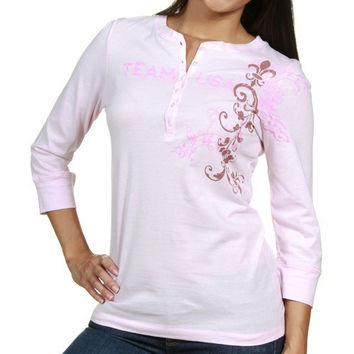 USA Swimming Ladies Pink Floral Henley 3/4 Sleeve T-shirt
