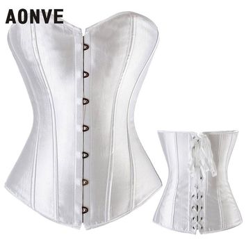 AONVE Women Sexy Punk Rave Satin Pink Corset Femme Overbust Bustiers Soild White Red Blue Lace Up Boned Top Corsets
