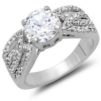 2.00 CT Ladies Round Cut White Cubic Zirconia CZ Engagement Bridal Ring (Available in size 6, 7, 8)