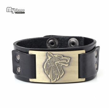 My Shape Viking Wolf Wrap Genuine Leather Bracelets Triquetra Fenrir Animal Irish knot Men Fashion Jewelry Supernatural