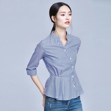 Blue And White Striped Shirt Women Summer Fashion Peter Pan Collar Blouse Short Sleeve Buttons Cotton Tops And Blouses