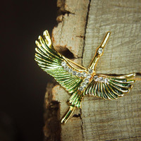 Japanese Crane Brooch #5351