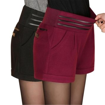 Autumn short pants women wool shorts sexy elastic waist Thickened Solid color Harem short trousers Feminina plus size breeches