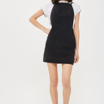 MOTO Backless Denim Pinafore Dress