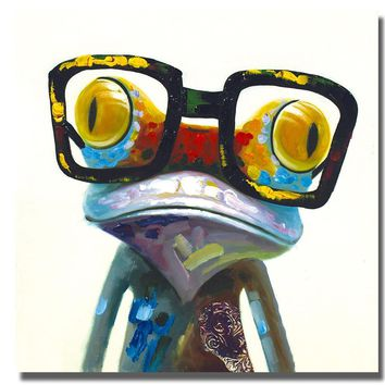 Hipster Frog Canvas Art