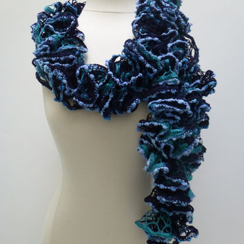 2013 Fashion crochet Ruffle infinity Scarf, READY TO SHIP