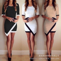 2015 sexy black and white hit color mosaic of irregular packet gluteus medius sleeve dress
